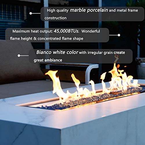 Elementi Outdoor Fire Table 45,000 BTUs Natural Gas Firepit Patio Coffee Table Furniture, Backyard Fireplace Marble Porcelain Rectangle Fire Pit, 17Inch-High (White)