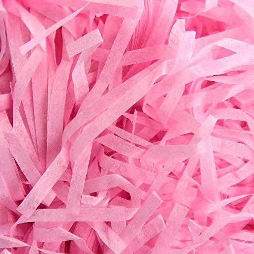 Geschreddertes Papier 200 Gramm, Seidenpapier für Geschenkverpackungen Raffia-Geschenkkorb-Füllpapier Geschenkbox Dekorations(Pink)