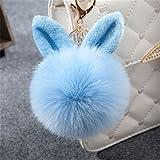 Nowbetter Llavero con pompón, esponjoso, con colgante de bola de pelo, para coche, cartera, bolsa de decoración, regalos para mujeres y niñas, color azul claro