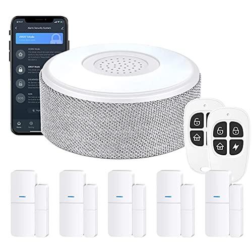 WiFi Door Alarm System(2nd Gen), Smart Home Alarm Security System DIY, Phone Alert, 8 Pieces-Kit (Alarm Siren, Door Window Sensors, Remotes), Work with Alexa, for House, Apartment, Alpha by tolviviov