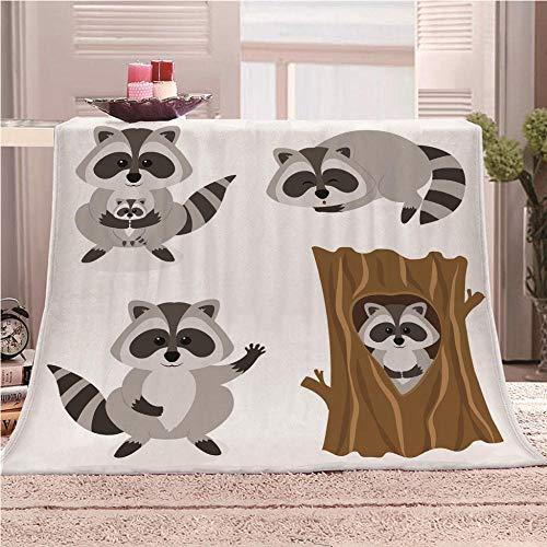 Manta De Cama 3D Mapache Animal Manta Reversible Suave y Esponjosa De Lana Estampado Manta de Dormitorio para Cama Infantil Individual Matrimonio 150x200cm
