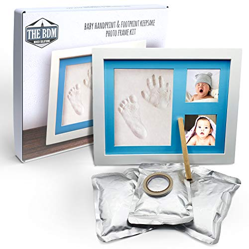 TheBDM Cornice impronte neonato | Kit con argilla per calco mani e piedi in 3D e cornice in legno con scatola regalo (Azzurro)