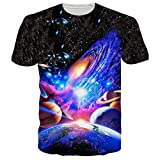 Loveternal Unisex 3D Funny Black T-Shirts Novelty Graphic Nebula Print...