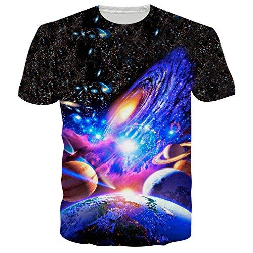 RAISEVERN Unisex Herren Damen Couple Galaxis T Shirts Tee Short Sleeve Shirts S