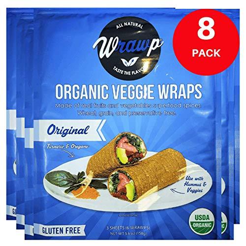 Raw Organic Original Veggie Wraps | Wheat-Free, Gluten Free, Paleo Wraps, Non-GMO, Vegan Friendly Made in the USA (8 Pack)