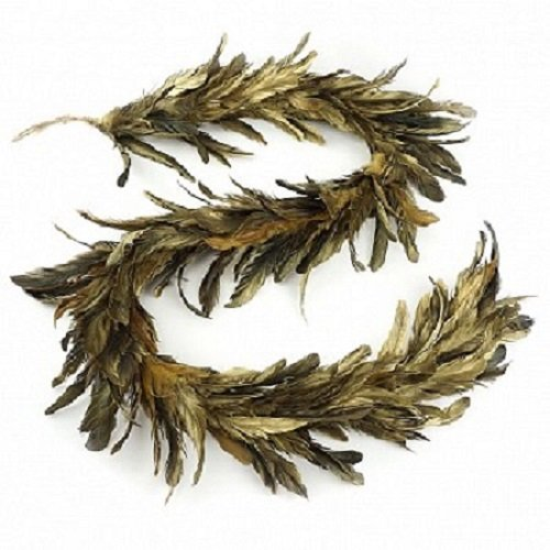Gold Gilded Feather Christmas Garland - Black Holiday, Home, Wedding Decoration