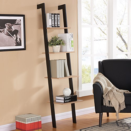 Danya B. Weathered Oak Leaning Four Level Leaning Shelf with Black Accents