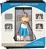 Magnetic Screen Door Heavy Duty, Fits Doors 35 x 80, 36 x 80, 36 x 82, 38 x 80, 38 x 82 inches, Net with Magnets Hands-Free Reinforced Mesh Curtain with Full Frame Magic Tape, Black