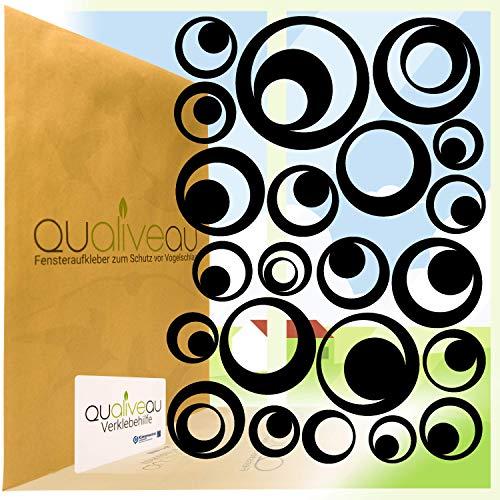 Qualiveau® 22 Retro Kreise Aufkleber zum Schutz vor Vogelschlag | Komplett – Set mit Verklebehilfe | Farbe: Schwarz