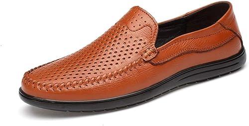 EGS-chaussures été Penny Penny Mocassins pour Hommes en Cuir Véritable Léger Perforé Robe d'affaires Décontracté Chaussures Plat Bout Rond Anti-Slip Chaussures Chaussures de Cricket (Couleur   Marron, Taille   41 EU)  beaucoup de concessions