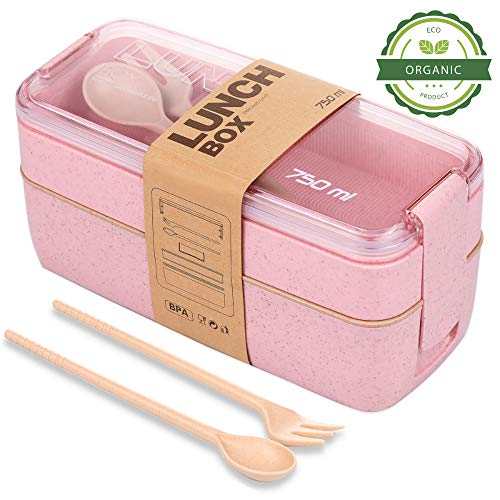 TARLINI HOME Bento Lunch Box for Kids- Asian Food Prep Containers with Built-in Plastic Silverware, Bento Box Lunch Box Containers for Kids, Japanese Bento Box Dishwasher Safe