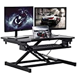 Standing Desk Home Office Desk Dual Monitor 32 Inches Adjustable Height Steel Coverter Stand Up Desk with Keyboard Tray Ergonomic Home Office Computer Desk Workstation,Black