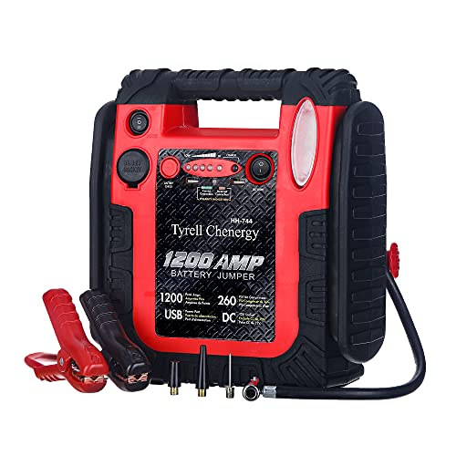 Tyrell Chenergy 1200 Peak/600 Instant Amps Car Jump Starter (Up to 6L Gas or 6L Diesel Engine), Jump Boxes for Vehicles,Comes with 260 PSI Air Compressor, 2.1A USB Ports, Jump Box,Battery Clamps.