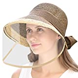 WAYCOM Removable Protective Straw Hat,Womens Beach Sun Straw Hat Wide Brim UPF50 Travel Foldable Summer Hat (Coffee+Transparent Shield)