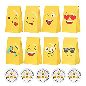 24 PCS Candy Bags Emoticons Candy Party Bags Gift Paper Bags Grocery Bags Craft Paper Bags Lunch Flat Bottom Bags with 24 Stickers Kraft Paper Favor Bag for Birth Christmas Party Supplies