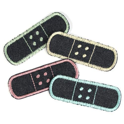 Pflaster Flicken zum aufbügeln 3 x 8,3cm Set Pastelltöne Jeansflicken zum Aufbügeln 4 Hosenflicken schlichte Bio Jeans Bügelflicken