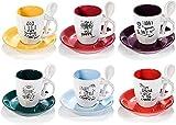 Juego completo de 6 tazas de café expreso de cerámica de 80 ml. Juego completo de 6 tazas de cerámica multicolor con sus...