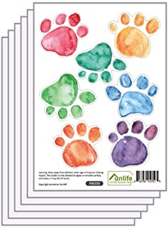 Finduat 42 Pcs Colorful Hand Painted Dog Paw Stickers Prints for Wall, Floor Decals, Classroom Home Party Decoration, Home Kid's Room Creative Wallpaper Mural Art Decorations