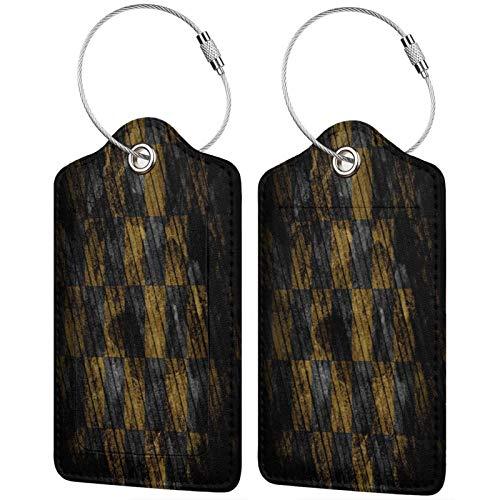 FULIYA - Juego de 2 etiquetas de cuero de gama alta para maletas, identificador de viaje para bolsos y equipaje, para hombres y mujeres, celdas, blanco, negro, color