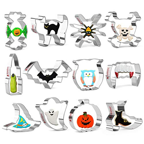 Kaishane Halloween Cookie Cutters Shapes Set of 12 - Pumpkin, Skull,Ghost, Cat, Bat, Witch's Hat, Spider, Owl, Witch's Shoes, Finger, Vampire Teeth and Candy - Stainless Steel Biscuit Cutter