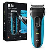 Braun Series 3 ProSkin 3040s Electric Shaver, Wet and Dry Electric Razor for Men with Pop Up Precision Trimmer, Rechargeable and Cordless Shaver, Black/Blue