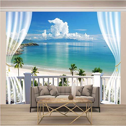 Fotomural Vinilo Pared Cielo Azul En La Playa Fuera De La Ventana 400x280cm/157x110in(Wxh) Murales De Pared 3D Sala De Estar Fondo Papel Pintado De No Tejido Fotomurales Decorativos Pared