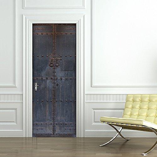Deurbehang zelfklevend deurposter 3D Chinese oude houten deur fotobehang deurfolie poster behang wandsticker vinyl afneembaar wandschilderij behang DHZ kantoor wooncultuur, 77 x 200 cm