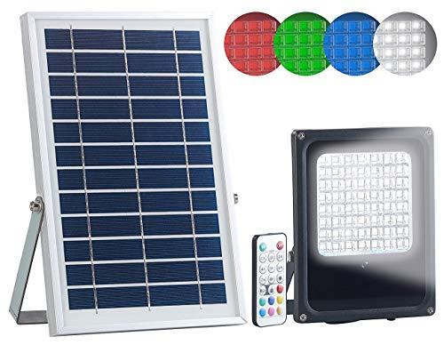 Luminea LED Solar Strahler: Solar-LED-Fluter für außen, RGBW, 30 Watt, mit Fernbedienung & Timer (Solar Leuchte Fernbedienung)