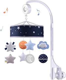 Baby Musical Crib Mobile with 360°Rotation,Hanging Space Theme Nursery Bed Decoration,Gift Toy for Newborn