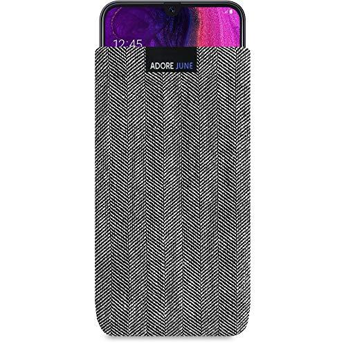 Adore June Business Tasche für Samsung Galaxy A50 Handytasche aus charakteristischem Fischgrat Stoff - Grau/Schwarz | Schutztasche Zubehör mit Bildschirm Reinigungs-Effekt | Made in Europe