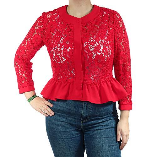 Fracomina Jeans Damen Kurze Jacke FR19SP680234 (Red, M)