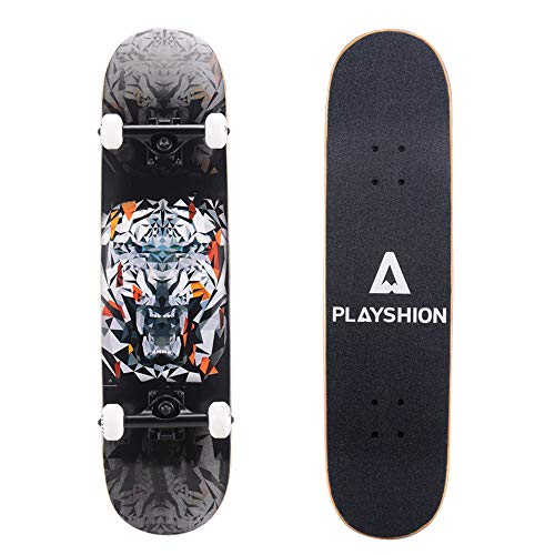 Playshion 31 Inch Trick Skateboard Complete for Kids and Adults Beginners Tiger