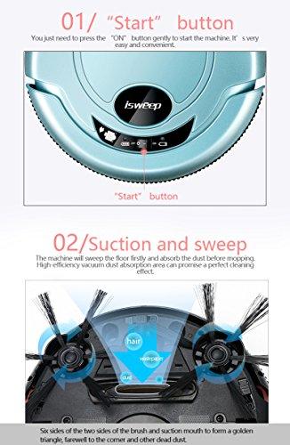 isweep JWS-S320 - Aspirapolvere robot bagnato e asciutto, sistema anti-collisione, piano di pulizia automatico, pulizia dei punti, pulizia dei bordi blu