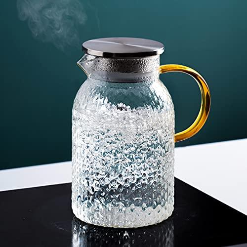 QDTD Jarra de Agua Cristal Borosilicato Jarra de Agua con Tapa Acero Inoxidable Agua Caliente y Fría Carafe para Agua Leche Zumo Té Helado Limonada y Bebidas Chispeantes 1.4L(Size:1 Pieces)