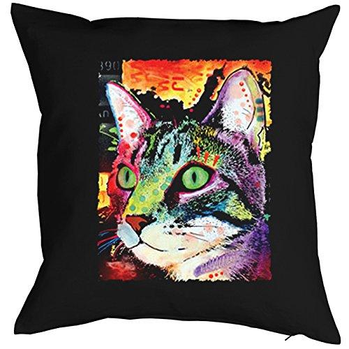 Curiosity Cat Cat Chats Gatti Gatos Coussin, Pop Art Style