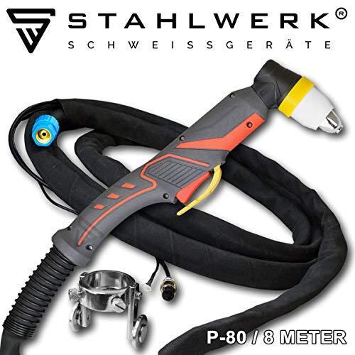 STAHLWERK P80 120A Brenner Schlauchpaket 8m Schneidbrenner für Plasmaschneider mit Pilotzündung für Geräte CUT 70/70 S, CUT 100, CUT 120/120 S geeignet