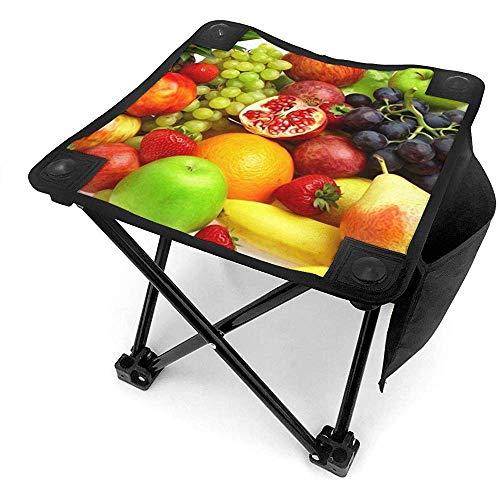 Taburete portátil de camping con bolsa de transporte, Gourmet Fruit Mini taburete plegable portátil al aire libre plegable taburete de camping para pesca, camping, barbacoa, playa, senderismo
