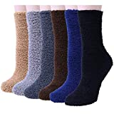 6 Pairs Women Fuzzy Fluffy Cozy Slipper Socks Warm Soft Winter Plush Home Sleeping Socks