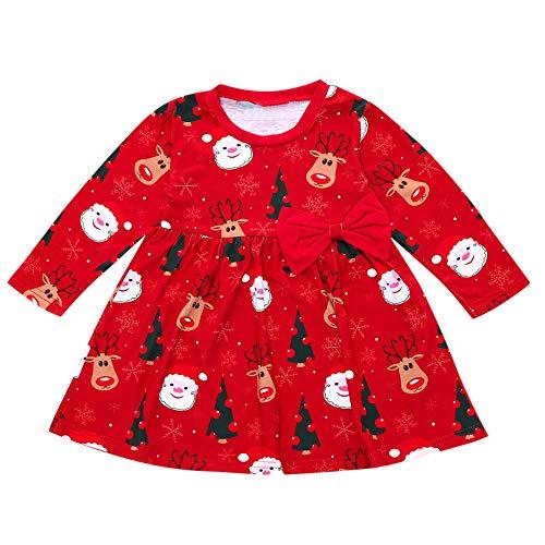 Robe Bébé, Mamum Noël Hiver Ensemble Bébé Fille Vêtements Manches Longues Col Rond Christmas Jupe Imprimée Robe (120(3-4Ans))