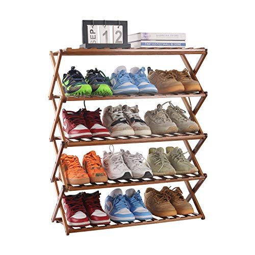 PENGKE Multi Tier Shoe Rack,Foldable Bamboo Shoe Organizer Rack Multifunctional Storage Free Standing Shoe Shelf,5 Tier