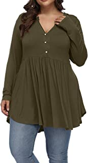 Allegrace Women's Plus Size Henley V Neck Button Tunic Tops Long Sleeve Swing Flowy Shirts