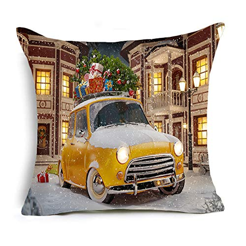 Gaojian Throw Cushion Pillow Covers Christmas Happy New Year Decorative for Sofas Beds Chairs Covers Square Pillowcase 4 -Piece Set, 18 X 18 Inch,E
