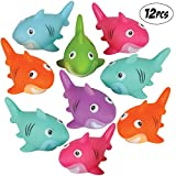 Bedwina Colorful Rubber Sharks (Pack of 12) Neon Squeezable & Squirtable Smiling Sharks, for Kids Pool and Bathtub Play, Summer Birthday Parties, Stocking Stuffers & Decorations