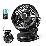 10000mAh Clip on Fan, Small Battery Operated Desk Stroller Fan with Rechargeable USB & Hook, 3 Speed-4 Mode-6 Inch-360 Rotation Portable Quiet for Baby & personal, Black Ezire