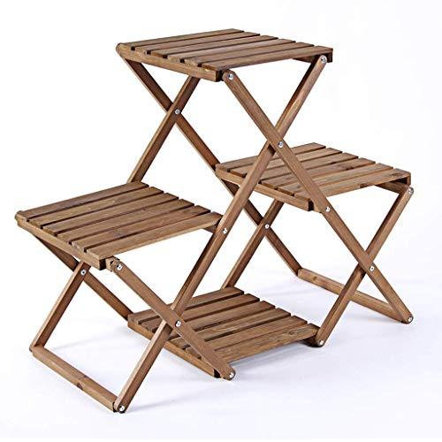 nghvj Étagère/robe/chaise Vintage quatre couches pliant le support de fleur en bois plein, présentoir de plateau de rangement de coin de balcon de salon supportant 4 pots de fleurs, 84 * 34.5 * 6