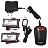 Blomiky 2 Pack 11.84Wh 7.4V 1600mAh 45C T Connector Plug Li-Po Battery and Charger for 9125 1/10 Scale 48KMH 4X4 Fast RC Truck Cars 25-DJ02 9125 Battery 2