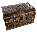 Aoakua 鍵付き 海賊木箱 アンティーク宝箱 大サイズ (横幅約45cm)