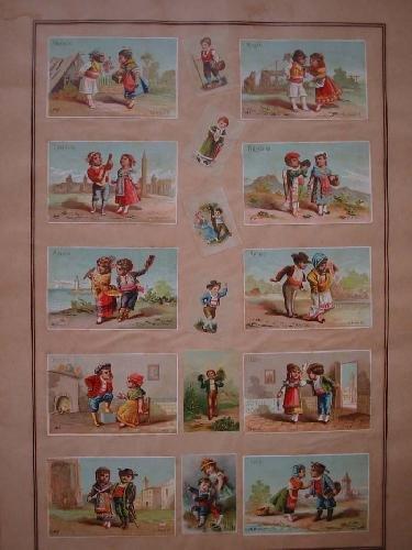 25 CROMOS Antiguos, 10 con parejas de diferentes regiones españolas
