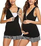 Unibelle Damen Umstandspyjama V-Ausschnitt Oberteile Shirt und Lang Hosen mit Stillfunktion(Schwarz,M)