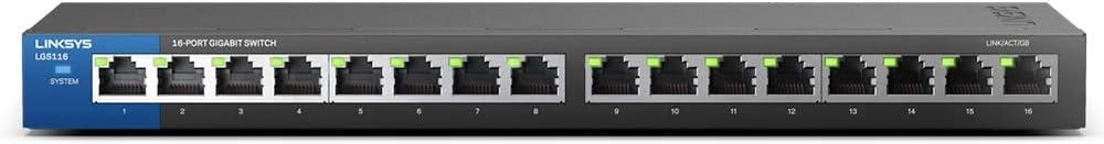 Linksys スイッチングハブ LAN 16ポート 10 / 100 / 1000Mbps ギガビット 金属筺体 静音設計 設定不要 5年保証 LGS116-JP-A
